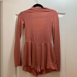 Urban Outfitters Pants - UO knit long sleeve romper open back turtleneck